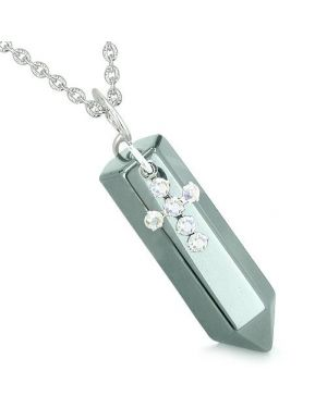 Amulet Crystal Point Holy Cross Swarovski Elements Charm Hematite Spiritual Pendant Necklace