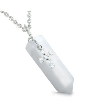Amulet Crystal Point Holy Cross Swarovski Elements Charm White Jade Spiritual Pendant Necklace