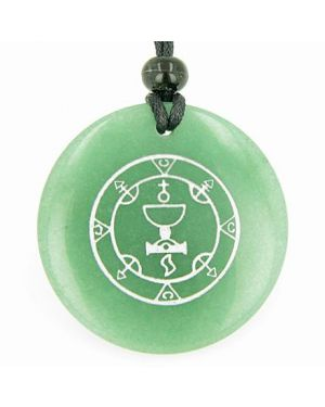 Seal of Queen Amulet Green Aventurine Magic Gemstone Circle Good Luck Powers Pendant Necklace