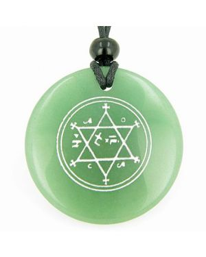 King of Solomon Circle of Pentacle Magic Hexagram Amulet Green Aventurine Gemstone Circle Necklace
