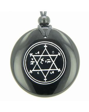 King of Solomon Circle of Pentacle Magic Hexagram Amulet Black Onyx Gemstone Spiritual Necklace