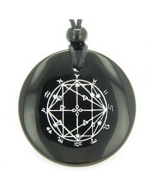 Astrological Seal Zodiac Star of David Amulet Black Onyx Magic Spiritual Powers Pendant Necklace