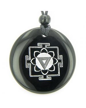 Kali Yantra Amulet Black Onyx Magic Gemstone Circle Spiritual Powers Pendant Necklace