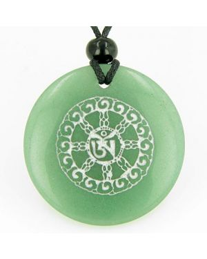 Om Mantra of Mantras Amulet Green Aventurine Magic Gemstone Good Luck Powers Pendant Necklace