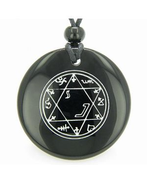 Magic Hexagram Amulet Black Onyx Gemstone Circle Spiritual Powers Pendant Necklace