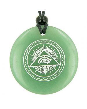 All Seeing Third Eye Amulet Green Aventurine Gemstone Circle Good Luck Powers Pendant Necklace