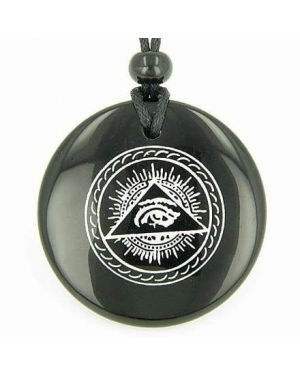 All Seeing Third Eye Amulet Black Onyx Gemstone Circle Spiritual Powers Pendant Necklace