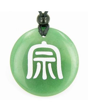 Far Eastern ProtectiDruids Amulet Green Aventurine Gemstone Circle Good Luck Pendant Necklace