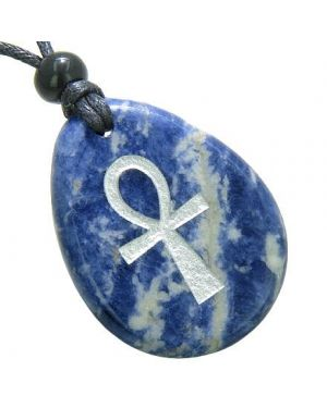 Ankh Egyptian Power of Life Good Luck Amulet Sodalite Wish Totem Gem Stone Necklace Pendant