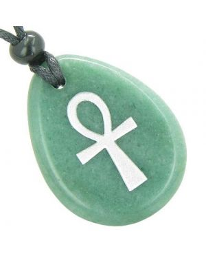 Ankh Egyptian Power of Life Good Luck Amulet Green Aventurine Wish Totem Gem Stone Necklace Pendant