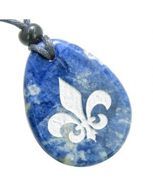 Fleur De Lis Triple ProtectiGoddess Good Luck Amulet Sodalite Totem Gem Stone Necklace Pendant
