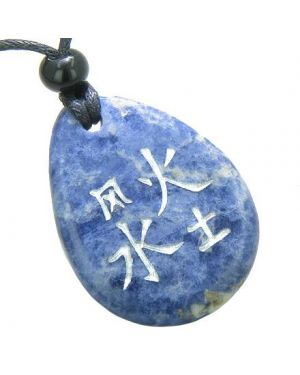 Lucky Life Kanji Elements Air Fire Water Earth Good Luck Amulet Sodalite Totem Necklace Pendant