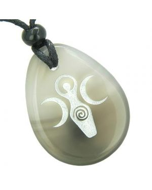 Triple Goddess Celtic Lady Blessing Good Luck Amulet Natural Agate Totem Gem Stone Necklace Pendant