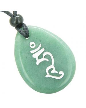 Tibetan HUM Indivisible Unity Wisdom Syllable Good Luck Amulet Green Aventurine Totem Necklace