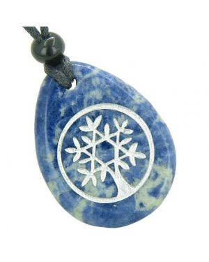 Tree of Life Circle King of Solomon Star Good Luck Amulet Sodalite Totem Gem Stone Necklace Pendant