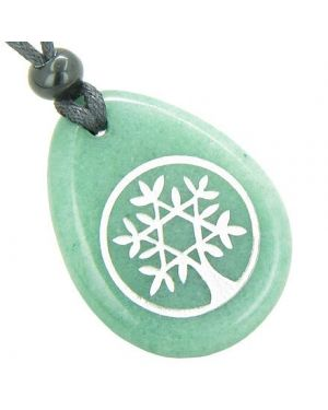 Tree of Life Circle King of Solomon Star Good Luck Amulet Green Aventurine Totem Stone Necklace