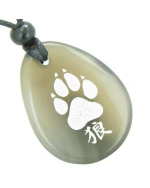 Lucky Wolf Paw Kanji Good Luck Amulet Natural Agate Wish Totem Gem Stone Necklace Pendant