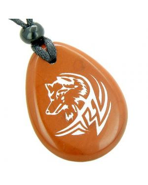Courage and Protection Lucky Wolf Believe Amulet Red Jasper Wish Totem Gem Stone Necklace Pendant