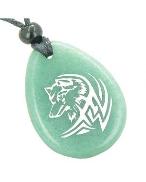Courage Protection Lucky Wolf Good Luck Amulet Green Aventurine Totem Gem Stone Necklace Pendant