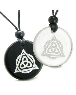 Amulets Couples Best Friends Celtic Triquetra Magic Triangular Triple Quartz Onyx Pendant Necklaces