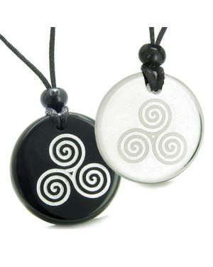 Amulets Couples Best Friends Triple Spiral of Life Celtic Goddess Quartz Onyx Pendants Necklaces