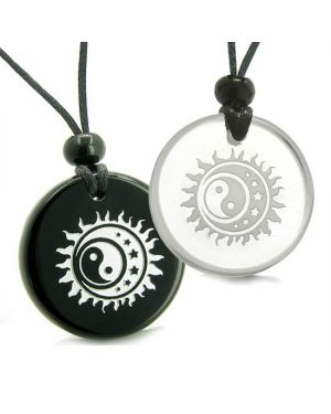Amulets Love Couples Best Friends Sun Moon Stars Triple Yin Yang Quartz Onyx Pendants Necklaces