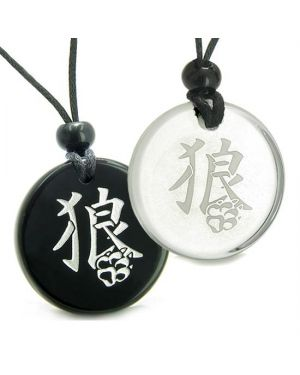 Amulets Love Couples Best Friends Magic Kanji Wolf Paw Courage Protection Quartz Onyx Necklaces