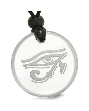 Amulet All Seeing Eye of Horus Egyptian Magic Protection Powers Quartz Medallion Pendant Necklace