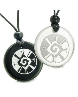 Amulets Couples Best Friends Mayan Unity of All Things Hunab Ku Magic Powers Quartz Onyx Necklaces