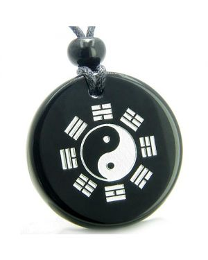 Amulet Yin Yang BA GUA Eight Trigrams Magic Protection Black Onyx MedalliCircle Pendant Necklace