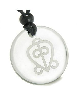 Amulet Power of Infinite Supernatural Love Protection Crystal Quartz Medallion Necklace
