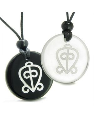 Amulets Love Couples Best Friends Power of Infinite Supernatural Love Quartz Onyx Pendants Necklace