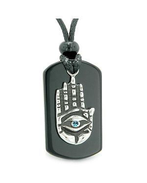 All Seeing Feeling Buddha Eye Hamsa Magic Powers Black Agate Tag Sky Blue Crystal Pendant Necklace
