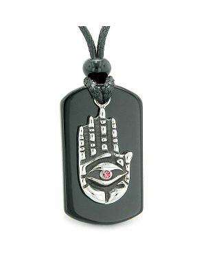All Seeing Feeling Buddha Eye Hamsa Magic Powers Agate Tag Pink Crystal Pendant Necklace