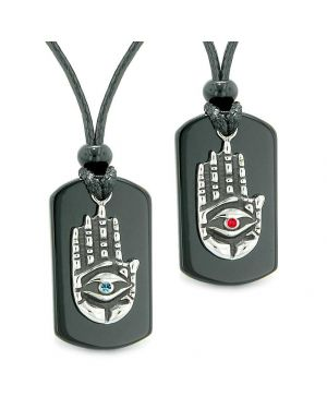 All Seeing Feeling Buddha Eye Hamsa Love Couple Best Friend Agate Tag Red Blue Crystal Necklaces