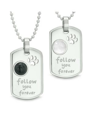 Follow You Forever Energy Amulets Wolf Paw Simulated Onyx White Cats Eye Yin Yang Couples Necklaces