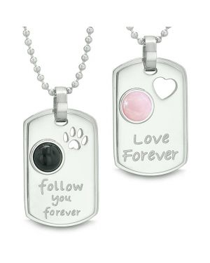 Love and Follow You Forever Heart Wolf Paw Simulated Onyx Pink Cats Eye Yin Yang Couples Necklaces