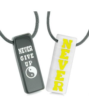 Never Give Up Amulets Love Couples Best Friends Yin Yang White Simulated Cats Eye Agate Necklaces
