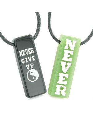 Never Give Up Amulets Love Couples Best Friends Yin Yang Green Quartz Black Agate Tag Necklaces