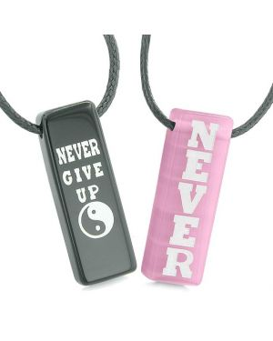 Never Give Up Amulets Love Couples Best Friends Yin Yang Pink Simulated Cats Eye Agate Necklaces