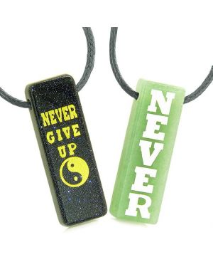 Never Give Up Amulets Love Couples or Best Friends Yin Yang Blue Goldstone Green Quartz Necklaces
