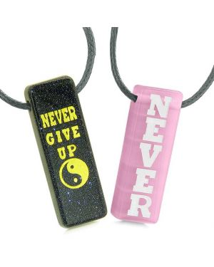 Never Give Up Amulets Love Couples Best Friends Yin Yang Goldstone Pink Simulated Cat Eye Necklaces