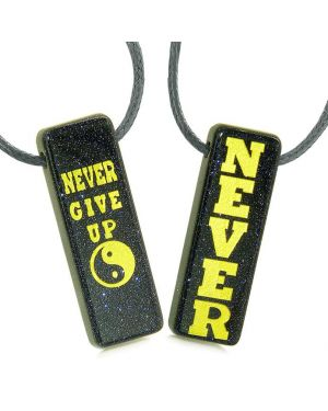 Never Give Up Amulets Love Couples or Best Friends Yin Yang Powers Blue Goldstone Tag Necklaces