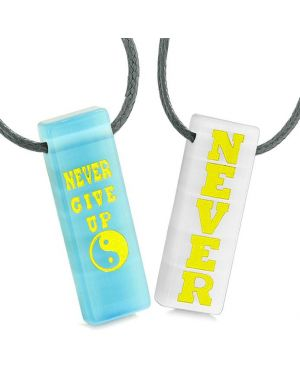 Never Give Up Amulets Love Couples Best Friends Yin Yang Blue White Simulated Cats Eye Necklaces