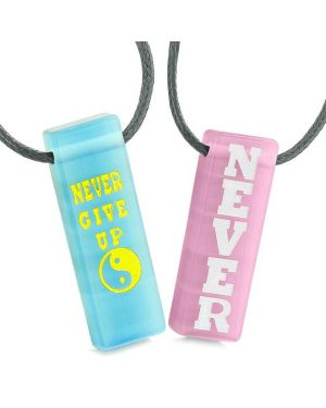 Never Give Up Amulets Love Couples Best Friends Yin Yang Sky Blue Pink Simulated Cats Eye Necklaces