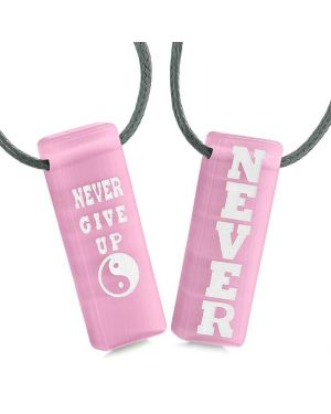 Never Give Up Amulets Love Couples Best Friends Yin Yang Powers Pink Simulated Cats Eye Necklaces