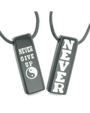 Never Give Up Amulets Love Couples or Best Friends Yin Yang Powers Black Agate Tag Necklaces