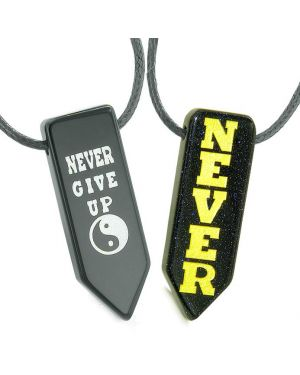 Never Give Up Amulets Love Couples Best Friends Yin Yang Goldstone Black Agate Arrowhead Necklaces