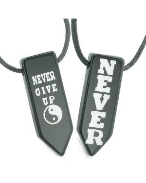 Never Give Up Amulets Love Couples Best Friends Yin Yang Magic Powers Agate Arrowhead Necklaces