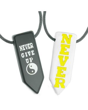 Never Give Up Amulets Love Couples or Best Friends Yin Yang White Quartz Agate Arrowhead Necklaces